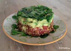 Tartar vegetariano Mousse, Sin Gluten, Salmon Burgers, Avocado Toast, Baked Potato, Quiche, Vegetarian Recipes, Good Food, Cooking