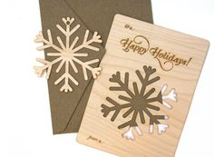 *****Holiday Shipping Times: We are not able to guarantee that orders paid for after December 11th will arrive to their destination before Christmas. Thank you!***** The holidays are here! This is a wood Holiday Card that is also a snowflake ornament! How cool is that?!? The card