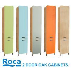 Roca Nexo Wooden Tall Bathroom Cabinets Oak