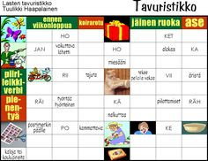 Tavuristikko Finnish Language, Printables, Teaching, Math, School, Counting, Shapes, Colors, Print Templates