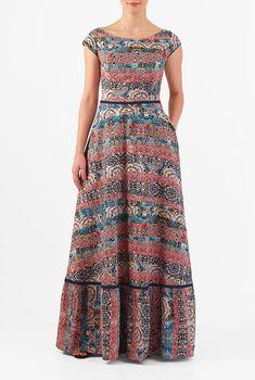 I <3 this Tile print crepe flounce hem maxi dress from eShakti