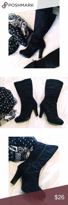 Charlotte Russe tall faux suede boots Trendy black faux suede tall boots✔️ boots are comfortable! Zipper style✔️1 tiny scuff on the back of the left boot. 4 inch heel✔️total length of boots are 15 inches. Widest part of the boot at the calf is 7 1/2 W. (zipper closed) ... 13 1/2 W (open zipper) Insoles are really clean👍🏼offers welcome no trades thank you 😊 Charlotte Russe Shoes Heeled Boots