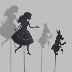 Alice and the white Rabbit / Laser cut Shadow Puppets, via Etsy.