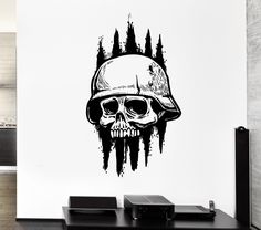 Wall Decal Skull Skeleton Army Soldier Dead Death Zombie Vinyl Decal Unique Gift (ed340)