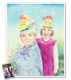 This hand painted watercolor portrait would be a great way to capture all of those birthday memories and so much more! Send us your photos and our artists will work their magic. :)