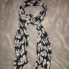 Like new,, sheer material - skull scarf NWOT, Skull scarf - Lightweight. Accessories Scarves & Wraps