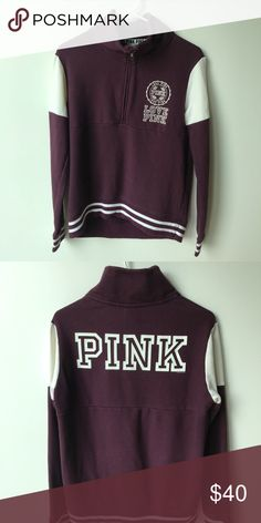 Victoria secret university quarter zip It has a slim fit around the arms, but very baggy and loose around the body area. Made out of cotton and polyester. Hits at around the hip area PINK Sweaters Crew & Scoop Necks