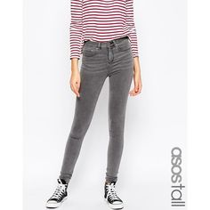 ASOS TALL Ridley High Waist Ultra Skinny Jeans In Slated Charcoal ($45) ❤ liked on Polyvore featuring jeans and charcoal