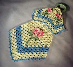 """Blue and Cream Vintage Design with Pink Variegated Rose Motif Potholder - 14"""" L x 7"""" W Oblong Drape"""