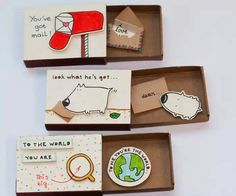 Inspired by the elements of greeting cards, gift boxes, and miniatures, these tiny cards are hand-crafted from real matchboxes and hand colored individually to give each of them that very personalized feel. But the best part has to do with the connection Matchbox Crafts, Matchbox Art, Cute Crafts, Diy And Crafts, Paper Crafts, Diy Paper, Diy Cards, Diy Gifts, Birthday Cards