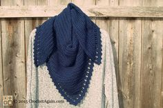 A Simple Crochet Shawl - free triangular pattern from Crochet Again. More