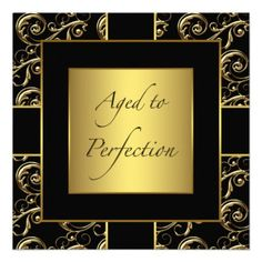 Womans Black And Gold Birthday Party Invitations