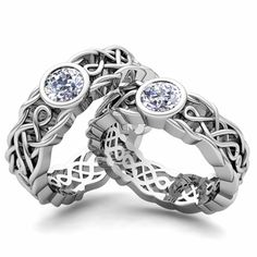 Gorgeous white gold Celtic wedding rings