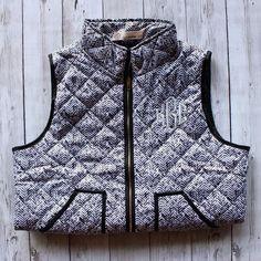 Monogrammed Quilted Herringbone Vest