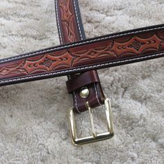 Hand-tooled Heavy Leather Belt - B23013S - Nylon-Stitched - Snap-on Solid Brass buckle.  Ships Free inside the USA via Etsy