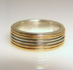 yellow and white gold wedding band sterling silver by maryajewelry, $750.00