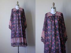Vintage Indian Cotton Dress - 1970s India Festival Tunic Gauze Cotton Block Print Tent Dress Indigo Pink w Ties and Belt S - Deadstock by jumblelaya on Etsy