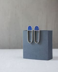 Sterling Silver Earrings / Silver and Wood Earrings / Geometric Earrings / Stud Earrings / Contemporary Jewelry