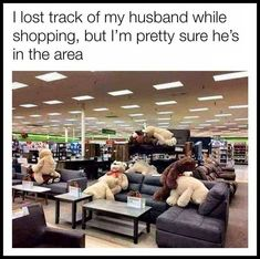 I lost track of my husband while shopping, but I'm pretty sure he's in the area - iFunny :) Stupid Funny Memes, Haha Funny, Hilarious, Funny Stuff, Funny Shit, Funny Things, Random Things, Random Stuff, Seriously Funny