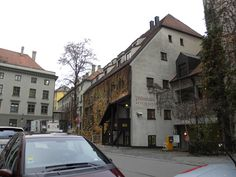 Interesting looking restaurant in Munich.  It seems there are condos above it.