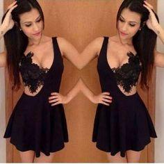 Sexy Black Lace Patchwork Dress