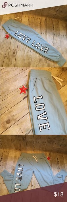 LOVE light blue sweats NWT size MED or XL LOVE light blue sweats NWT size Med or XL drawstring waist. Band at ankle. MSRP 39.99 Pants Track Pants & Joggers