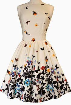 Half white butterfly tea dress fashion