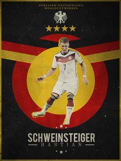 World Cup - by Monzer Oraby, - Bastian Schweinsteiger Fifa Football, Retro Football, Football Design, Football Art, World Football, Germany Players, Germany Team, Germany National Football Team, Germany Football