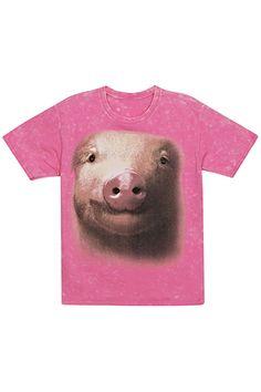 "ROMWE | ""Pig Face"" Pink T-shirt, The Latest Street Fashion"