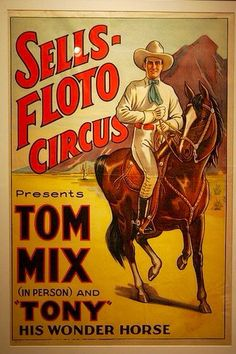 Old, original Tom Mix poster. Great colors-framed, they mix well with the earth tones of a western theme room or house.