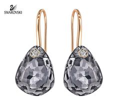 Swarovski Crystal Jewelry Earrings PARALLELE Rose Gold  Silver Night Crystal   5182601 Size  3cm d6dd95ead4