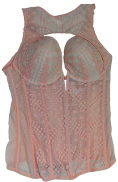 Victoria's Secret Nude Lace Corset (34C). Victoria's Secret Light Pink in color giving a nude look. This gorgeous corset will enhance your beautiful body and leave him breathless. It's never to late to spice things up in your bedroom so why not start now, if you haven't already. Expandable material with a 3 layer hook extender to adjust size. Zipper on the side for easy removal.