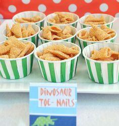 Dinosaur Party Ideas~ bugles = dinosaur toe nails!!! :)