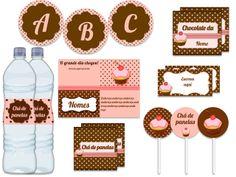 tags em marron para imprimir de baby shower   Festa Padrão - Rosa e marrom com cupcake