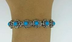 PERSIAN-TURQUOISE-CABOCHONS-STERLING-SILVER-7-5-TENNIS-BRACELET