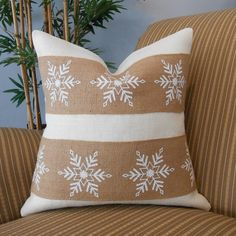 Christmas snowflake burlap pillow cover 18x18 off white & natural burlap $38