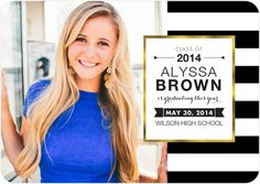 Glamorous Stripes - Graduation Announcements in bold black and white stripes.
