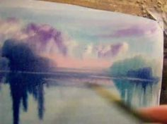 wet watercolor -  lulia Carchelan shows how to paint very wet in wet lake & sky reflections. 9.16 mins YouTube
