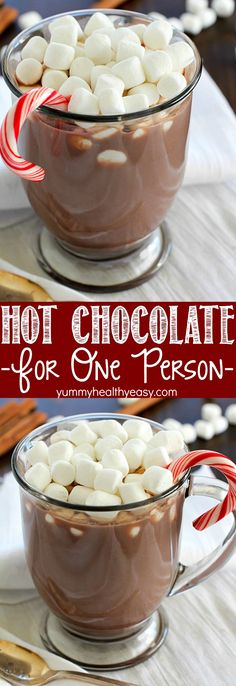 Ever crave a mug of homemade hot chocolate but don't want to make a whole batch? Check out this Hot Chocolate for ONE! Only 4 easy ingredients and ONE minute to a fabulous & fast mug of hot chocolate!