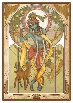 Hindu Art:Krishna in the Art Nouveau style