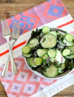 Lightened Up Creamy Cucumber Kale Salad // healthy, easy, perfect BBQ side to try this Summer // nutritionistinthekitch.com
