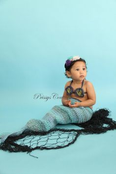 Crochet Mermaid photo prop/newborn to toddler/under the sea