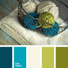 Freshness and naturalness define the concept of this palette. White colour has become a kind of referee between the bright turquoise and restrained olive green.