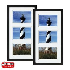 7dab59899cb1 2-Pack 3-Opening Wall Picture Photo Collage Frame Black Wall Gallery Home  Decor