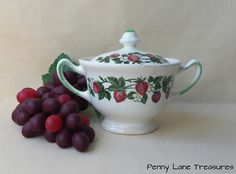 Vintage Strawberries Sugar Bowl ~ with Lid ~ Ceramic China ~ 1940's ~ Mid Century ~ Condiment Bowl ~ Retro Kitchen Ware by PennyLaneTreasures on Etsy