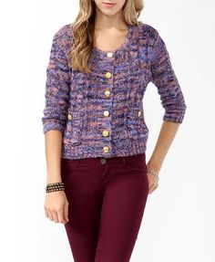 Multi-Colored Cable Knit Cardigan | FOREVER 21 - 2019571781