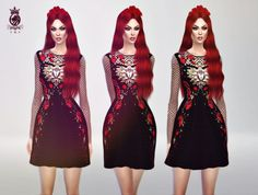 F R S Red Roses Dress (D&G)   Sims 4 Updates -♦- Sims Finds & Sims Must Haves -♦- Free Sims Downloads