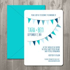 Joyful Bunting Flags Wedding Invitation - DIY Printable Invitation $15.00   *could be made into shower invitations too!*