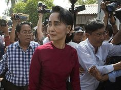 Expected victor: Aung San Suu Kyi, the 70-year-old Nobel peace prize winner, is expected to have won the most votes in today's elections