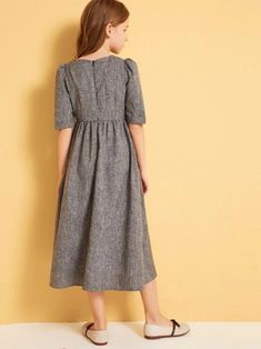 Girls Button Front Pocket Front A-Line Dress : Girls Button Front Pocket Front A-Line Dress – Kidenhouse Girls Fashion Clothes, Kids Fashion, Girl Outfits, Fashion Dresses, Frocks For Girls, Little Girl Dresses, Girls Dresses, Houndstooth Dress, Dress Tutorials